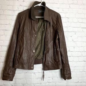 TATTOO Faux Leather Brown Jacket